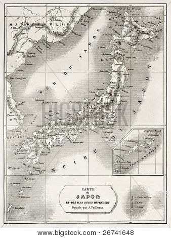 Japan old map. Created by Vuillemin and Erhard, published on Le Tour du Monde, Paris, 1860