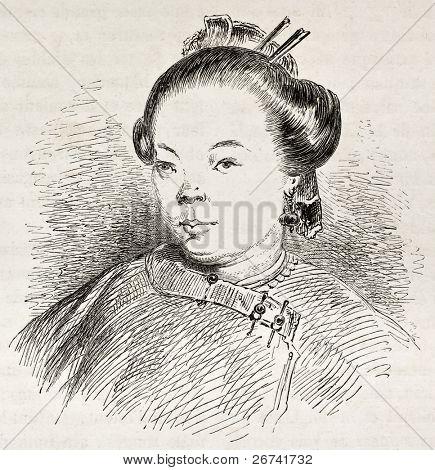 Chinese woman portrait, old illustration.  Created by Dore after Trevise, published on Le Tour du Monde, Paris, 1860