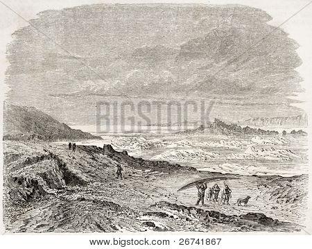 Vista antiga da boca de Rio, Canadá de volta. Criado por Lancelot, depois volta, publicada em Le Tour du Monde, Pa