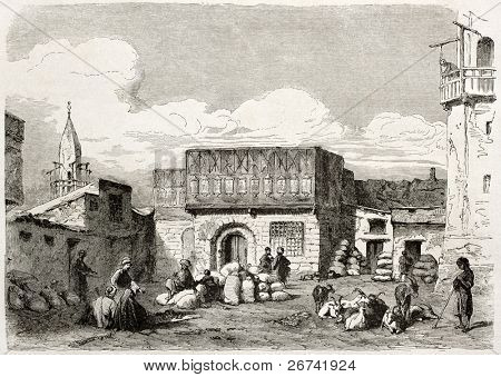 Suez, corn marketplace old illustration. Created by Lejean, published on Le Tour du Monde, Paris, 1860
