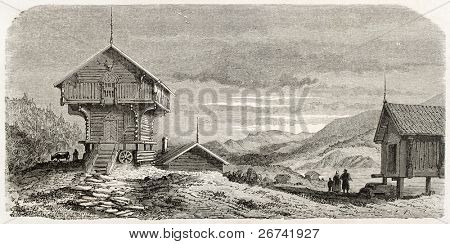 Bamble chalet old illustration,  Telmark, Norway. Created by Lancelot after Riant, published on Le Tour du Monde, Paris, 1860