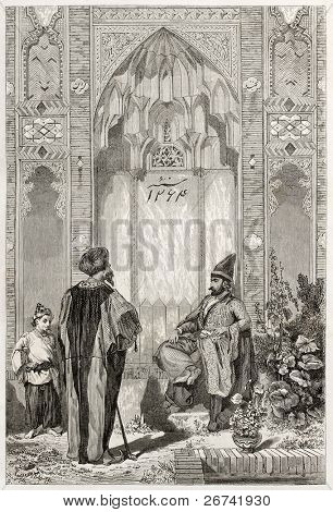 Men in a courtyard in Teheran, old illustration. Created by Laurens, published on Le Tour du Monde, Paris, 1860