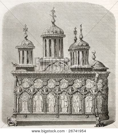 Old casket kept in Karyes monastery treasure. Created by Therond after photo of unknown author, published on Le Tour du Monde, Paris, 1860
