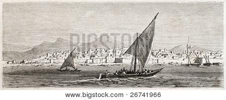 Vista antigua de Jeddah, Arabia Saudita. Creado por Girardet después de Lejean, publicado en Le Tour du Monde, Pari
