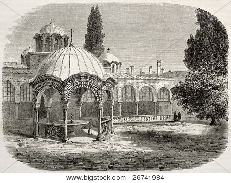 Great Lavra monastery with baptistry, old illustration: Mount Athos, Greece. Created by Lancelot after photo of unknown author, published on Le Tour du Monde, Paris, 1860