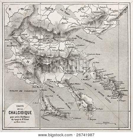 Chalkidiki old map, Greece. Created by Vuillemin, published on Le Tour du Monde, Paris, 1860