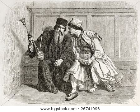 Confession old illustration. Created by Bida, published on Le Tour du Monde, Paris, 1860