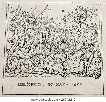 Battle of Heliopolis (20 march 1800) old print. After bas-relief by Grass, published on Magasin Pittoresque, Paris, 1840