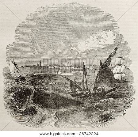 Odessa old view from the sea, Ukraine. By unidentified author, published on Magasin Pittoresque, Paris, 1840