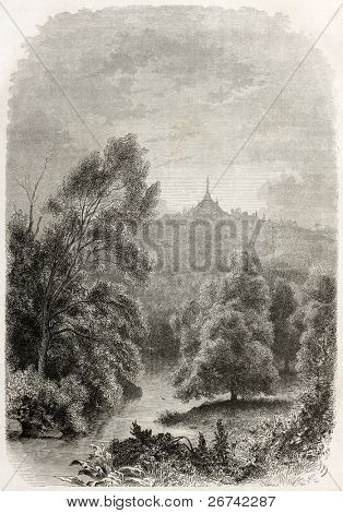Ava kingdom territory old illustration (today Burma) with Rangoon pagoda in the background. Created by Francais after photo of unknown author,  published on Le Tour du Monde, Paris, 1860