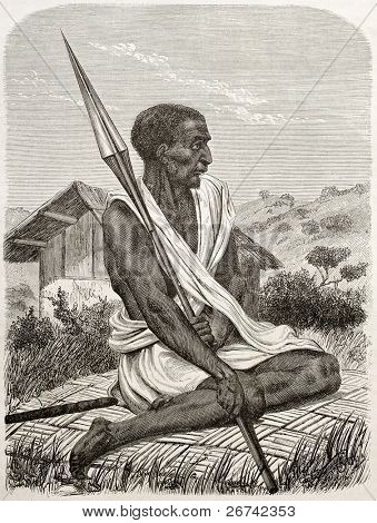 Ugandan man old engraved portrait. Created by Boulanger after Burton, published on Le Tour du Monde, Paris, 1860