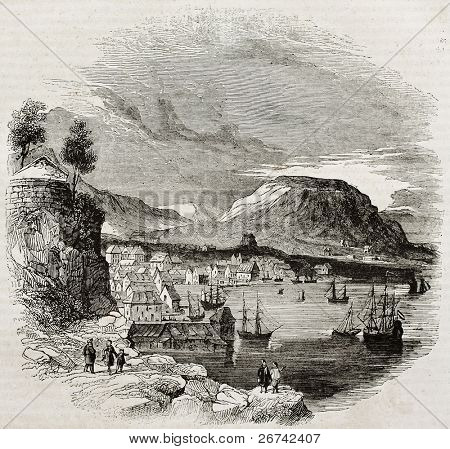 Bergen old view, Norway. By unidentified author, published on Magasin Pittoresque, Paris, 1840