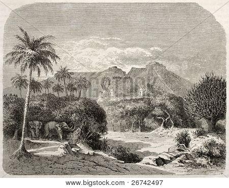 Região de Shilluk próximo Rio Sabot, antiga visão, sul do Sudão. Criado por Lancelot após Russegger, publ