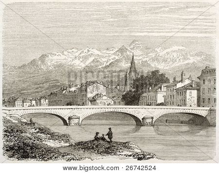 Grenoble and French Alps in background. Created by Girardet after photo of Muzet and Bajat, published on Le Tour du Monde, Paris, 1860
