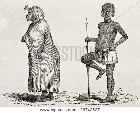 Tanganyika lake southern coast dwellers. Created by Burton, published on  Le Tour du Monde, Paris, 1860