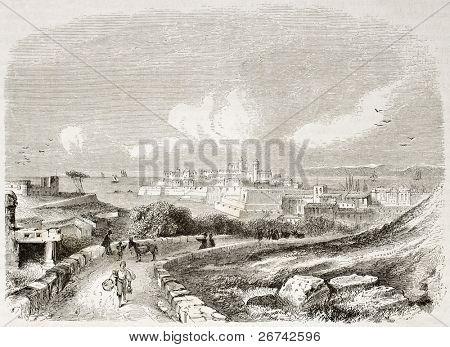Syracuse old view, Sicily. Created by Rouargue, published on Le Tour du Monde, Paris, 1860