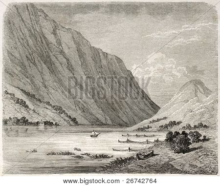 Bandak lake old view, Norway. Created by Dore after Riant, published on Le Tour du Monde, Paris, 1860