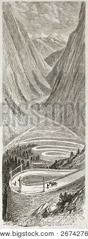 Stalheim road old view, Norway. Created by Dore after Riant, published on Le Tour du Monde, Paris, 1860