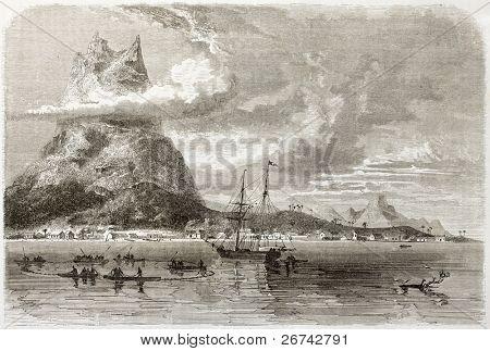 Bora Bora anchorage and peak reef old view. Created by De Berard, published on Le Tour du Monde, Paris, 1860