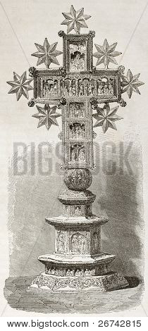Sculpted Cross kept in Karyes monastery treasure, old illustration. Created by Therond after photo of unknown author, published on Le Tour du Monde, Paris, 1860