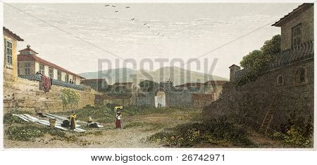 Porta Nuova old view, Messina, Sicily. Created by De Wint and Finden, printed by McQueen, publ. in London, 1822. Ed. on Sicilian Scenery, Rodwell and Martins, London, 1823