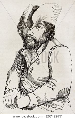 Idiot man from Valais, old illustration. By unidentified author, published on Magasin Pittoresque, Paris, 1840