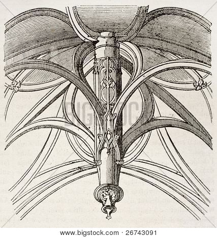 The vault of Vierge-de-Saint-Gervais chapel, architectonic detail, Paris. By unidentified author, published on Magasin Pittoresque, Paris, 1840