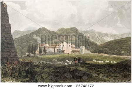 Capuchin Convent old view, Sicily, Created by De Wint and Goodall, printed by McQueen, publ. in London, 1821. Ed. on Sicilian Scenery, Rodwell and Martins, London, 1823