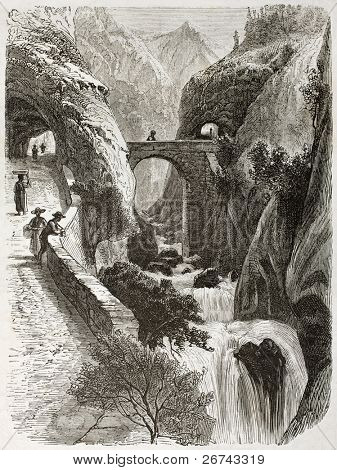 Grand Goulets (bottleneck) and waterfalls in Vercors region, France. Created by Girardet after Muston, published on Le Tour du Monde, Paris, 1860