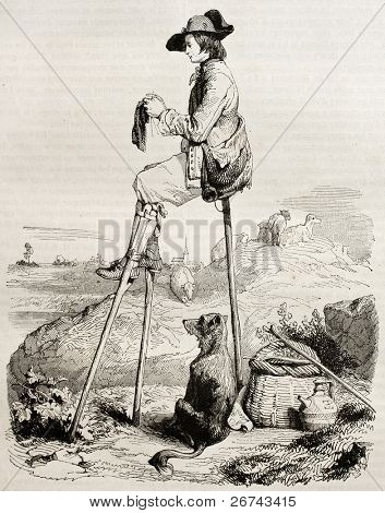 Sitting stilt man old illustration (Shepherd watching his cattle). Created by Lepoitevin, published on Magasin pittoresque, Paris, 1842