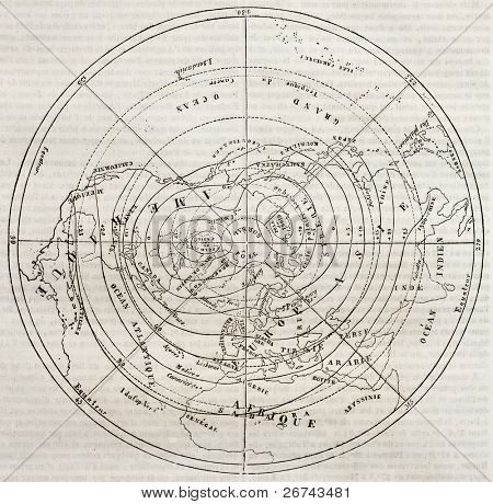 Boreal hemisphere isotherm contour lines. By unidentified author, published on Magasin Pittoresque, Paris, 1842