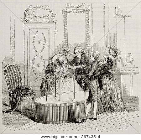Mesmer Baquet old illustration. By unidentified author after print of 1784, published on Magasin Pittoresque, Paris, 1842