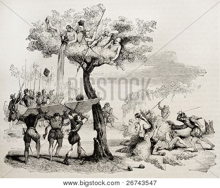 Spanish conquistadors fighting against central-Americn natives. Created by De Bry, published on Magasin Pittoresque, Paris, 1842