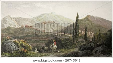 Francavilla old view, Sicily. Created by De Wint and Wallis, printed by McQueen, publ. in London, 1821. Ed. on Sicilian Scenery, Rodwell and Martins, London, 1823