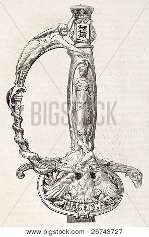 Hilt of a sword given by Autun residents (eastern France) to Marshal MacMahon, Duke of Magenta.Created by Fichot, published on L'Illustration, Journal Universel, Paris, 1860