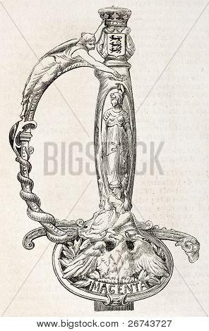 Punho de uma espada dada por residentes de Autun (da França) a Marechal MacMahon, Duque de Magenta.Creat