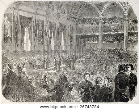 Prize giving ceremony inside the Sorbonne, Paris. By unidentified author, published on L'Illustration, Journal Universel, Paris, 1860