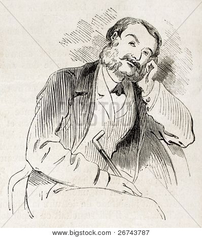 Thoughtful man old illustration. Created by Marcelin, published on L'Illustration, Journal Universel, Paris, 1860