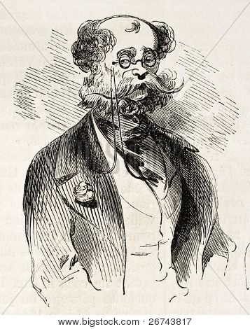Man with glasses old illustration. Created by Marcelin, published on L'Illustration, Journal Universel, Paris, 1860