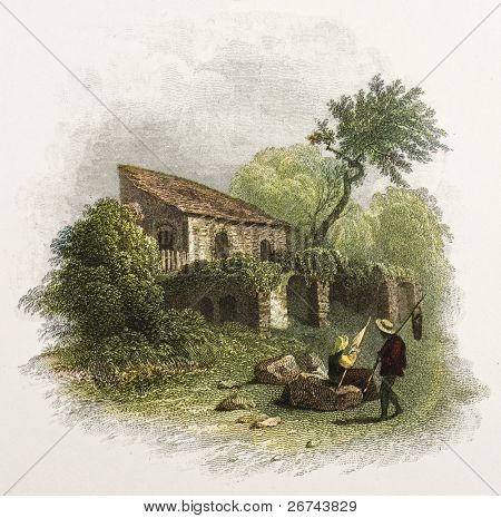 Sicilian cottage old illustration. Created by De Wint and Pye, printed by McQueen, publ. in London, 1821. Ed. on Sicilian Scenery, Rodwell and Martins, London, 1823