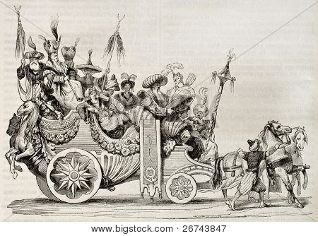 Roman carnival chariot old illustration. Created by Vien, published on Magasin Pittoresque, Paris, 1842