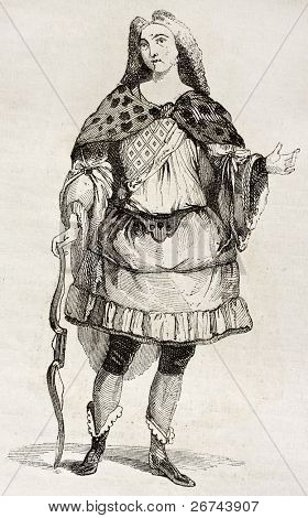 Man in costume old illustration. By unidentified author, published on Magasin Pittoresque, Paris, 1842