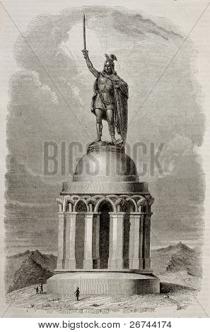 Hermannsdenkmal memorial old illustration, Germany. By unidentified author, published on Magasin Pittoresque, Paris, 1843