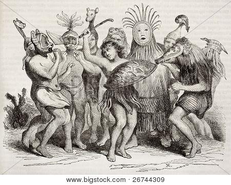 brasilianische Ureinwohner tanzen alte Abbildung. von unbekannten Autor veröffentlicht am Magasin pittoresque