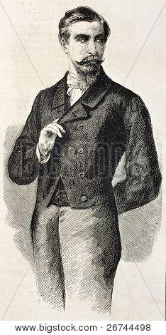 Príncipe San Cataldo velho retrato gravado, representante de Garibaldi em França. Depois da foto de Pesme um