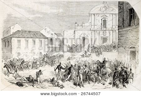Garibaldi troops taking Reggio Calabria main square, southern Italy. Created by Worms, published on L'Illustration, Journal Universel, Paris, 1860
