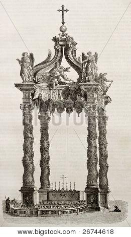 Sankt Peter Basilika Baldacchino und Hauptaltar, alte Illustration. von unbekannten Autor veröffentlicht