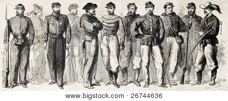 Garibaldian army uniforms old illustration. Created by Worms, published on L'Illustration, Journal Universel, Paris, 1860