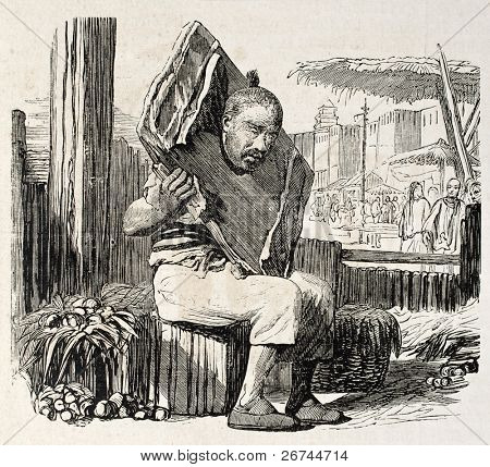 Man in pillory old illustration. Created by Grandsire, published on L'Illustration, Journal Universel, Paris, 1860