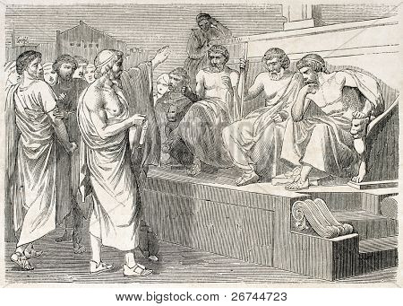 Sophocles accused by his sons, old illustration. Created by Michel, published on L'Illustration, Journal Universel, Paris, 1860